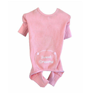 Sweet Dreams Thermal Dog Pajamas - Pink