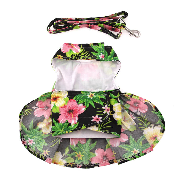 Twilight Black Hawaiian Hibiscus Dog Dress with Matching Leash