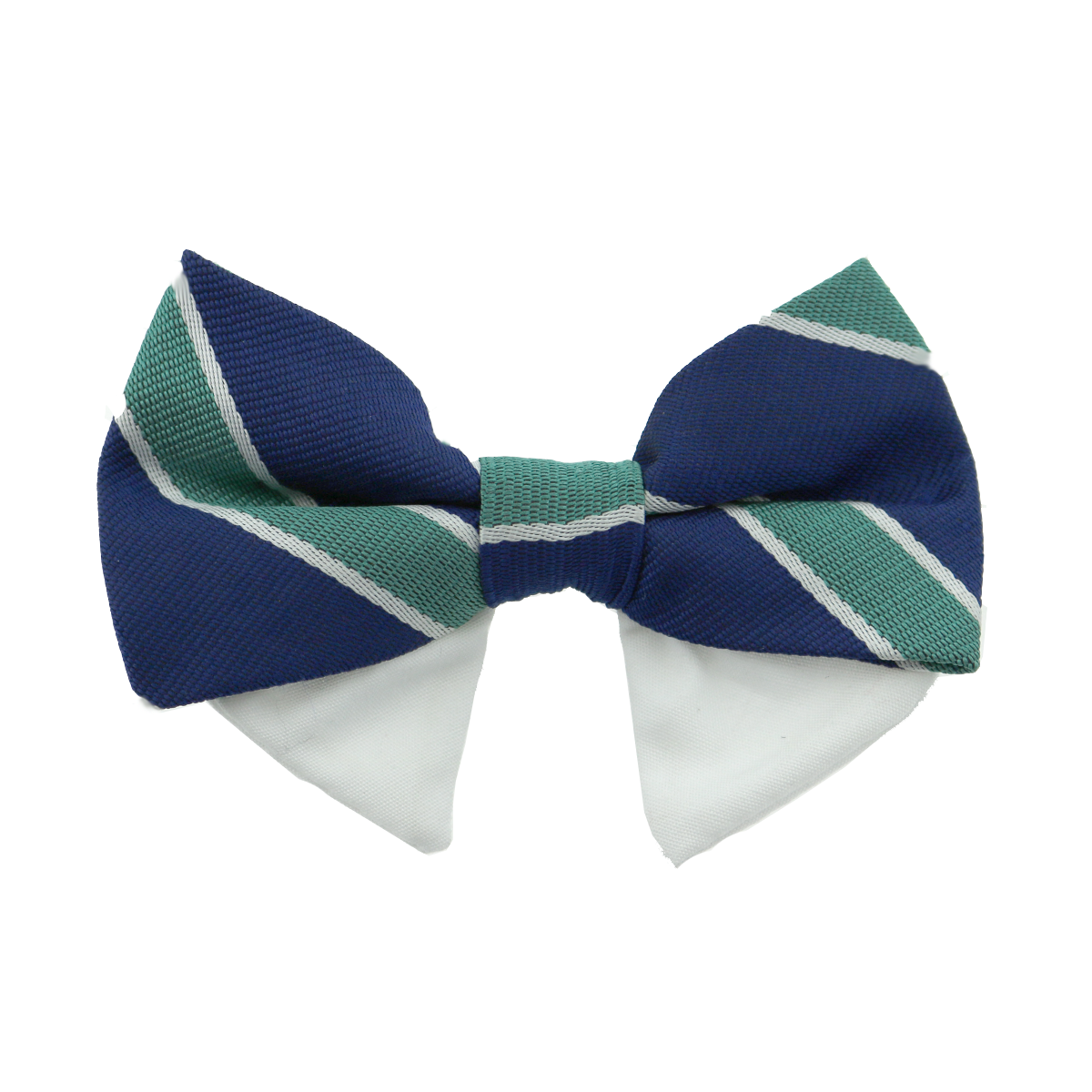 Universal Dog Bow Tie - Navy Blue and Green Stripe