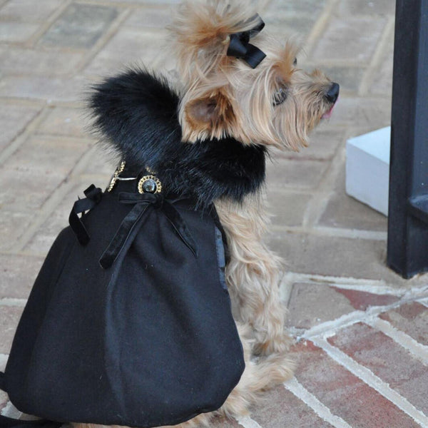 Wool Fur-Trimmed Dog Harness Coat - Black