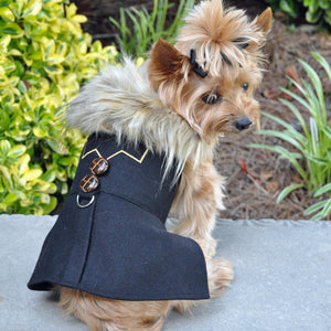 Wool Fur-Trimmed Dog Harness Coat - Chevron With Matching Leash