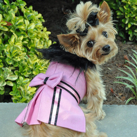 Wool Fur-Trimmed Dog Harness Coat - Pink