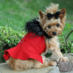 Wool Fur-Trimmed Dog Harness Coat - Red With Matching Leash