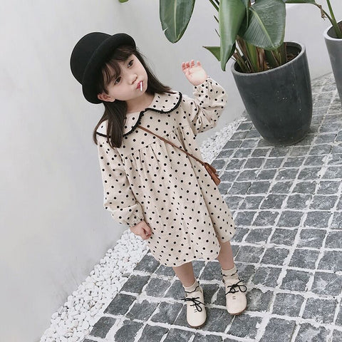 Spotty Dress with Frill Collar
