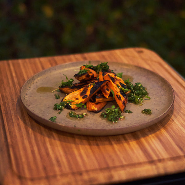 Grilled Sweet Potatoes with Cilantro Zhoug