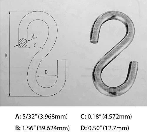 S Hook 316 Stainless Steel Metal S-Hook and Hanger (20)