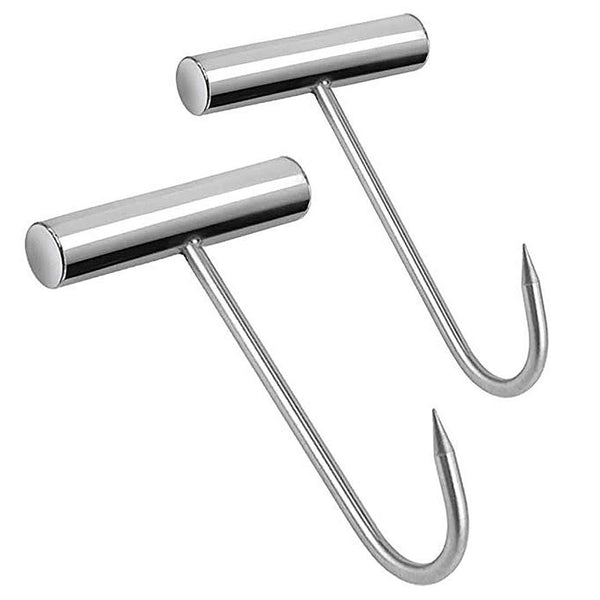 2PCS Meat Hooks for Butchering Stainless Steel T Hooks T-Handle Boning Hooks with Handle