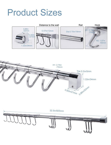 Wall Utensil Holder Pot Pan Rack with 8pcs Hooks Stainless Steel(Silver,32.5inches)