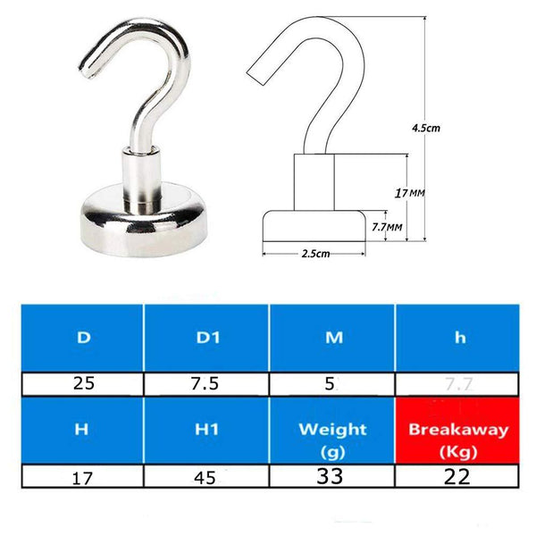 TLBTEK 15 Pack of 48 LBS Neodymium Magnetic Hooks Heavy Duty,Powerful Strong Magnetic Hooks for Bathroom,Bedroom, Kitchen, Workplace, Office and Garage