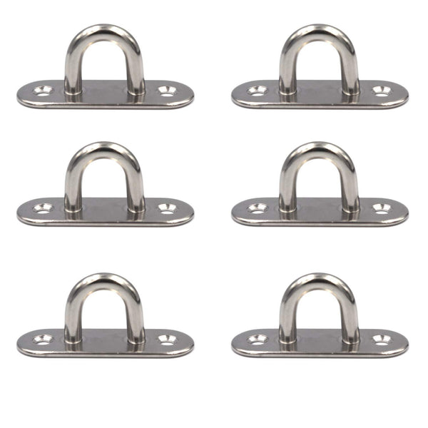 FGen 6pcs Stainless Steel Eye Plate Marine Oval Buckle Fixed Plate Seat Rope Pull Ring Oval Door Buckle
