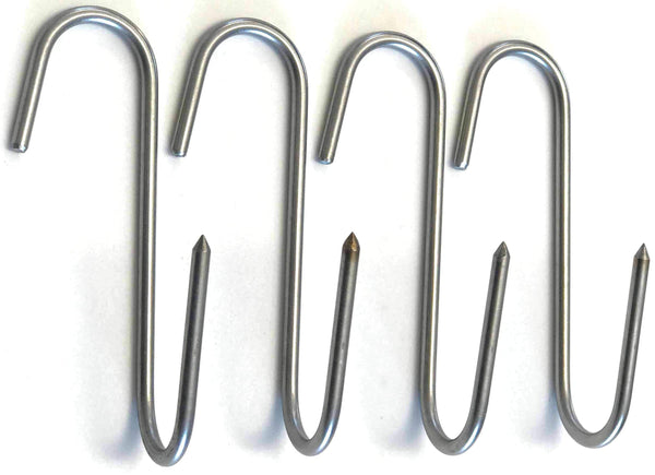 "RiversEdge Products Stainless Meat Hooks, Smoker Hook, 9"" Right Angle, 4 Pack"