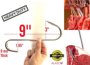 "4pc 9"" Heavy Duty & Thick ALAZCO Stainless Steel Meat Processing Butcher Hook - Wild Game, Smoking Ribs BBQ Large Fish, Hunting, Carcass Deer Hanging S-Hook Excellent Quality 9mm Thick"