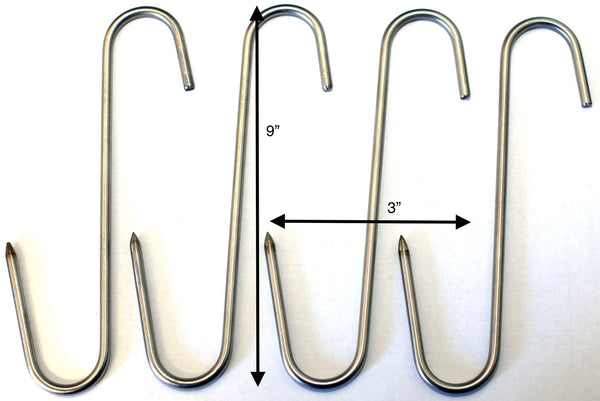 "RiversEdge Products Stainless Meat Hooks, Smoker Hook, 9"", 4 Pack"