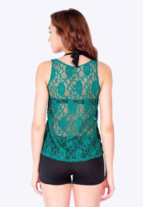 FUNFIT - OPENWORK TANK TOP IN JADE GREEN