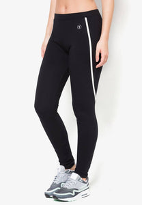 FUNFIT - Cotton Tapered Pants with Stripes in Black