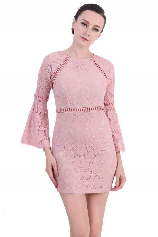 DreamTales - Bell Sleeve Lace Mini Dress - Pink