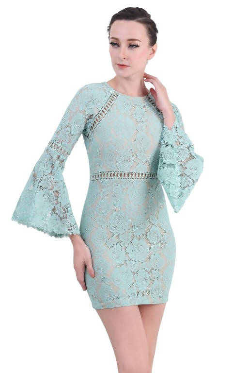 DREAMTALES WARDROBE - Bell Sleeve Lace Mini Dress - Powder Green