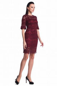 DREAMTALES WARDROBE - Lace Fluted Sleeves Dress – Burgundy