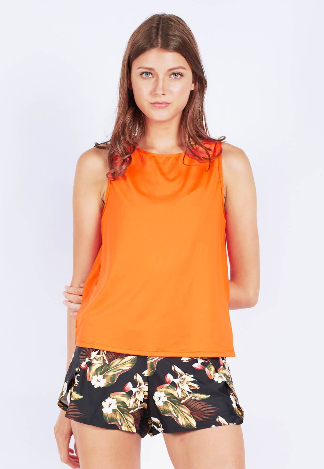 FUNFIT - Uplift Tank Top (With Open Back) in Burnt Orange