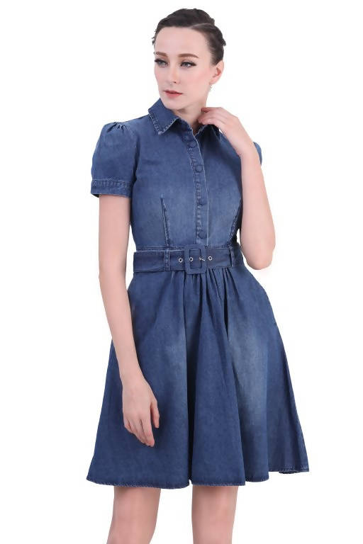 DREAMTALES WARDROBE - Front Button Ruched Sleeve Denim Dress - Dark Blue