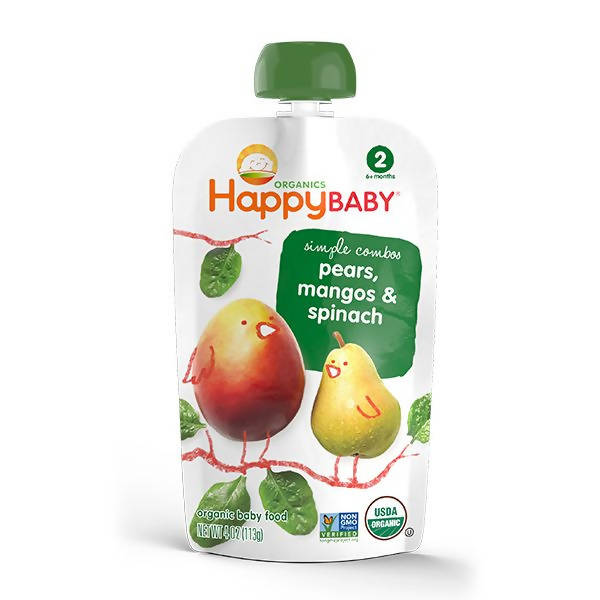 ECOPEAKS - Happy Baby Stage 2 Simple Combo - Spinach/Mango/Pear (99g)
