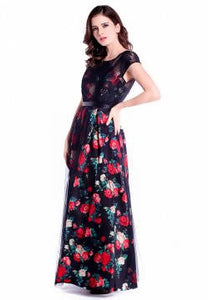 DREAMTALES WARDROBE - Mesh Lace Layering Floral Evening Dress – Black