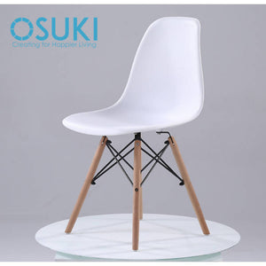 OSUKI - Japan Quality Eames Chair White Seat Natural Wood Legs Chair