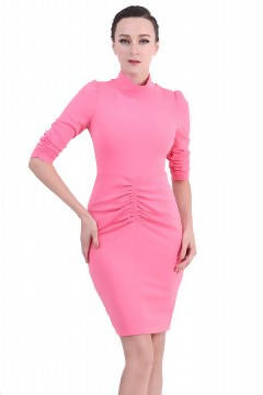 DreamTales - High Neck Ruched Bodycon Dress – Pink