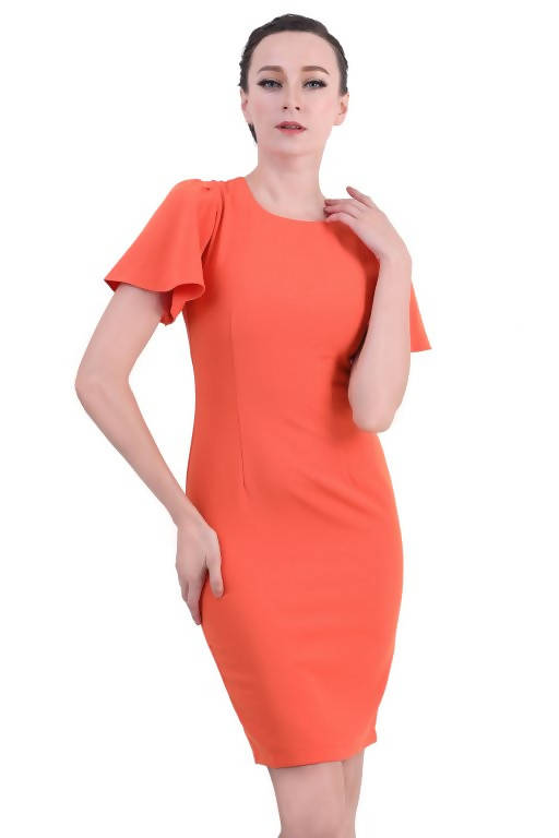 DREAMTALES WARDROBE - Flutter Sleeve Sheath Dress – Orange