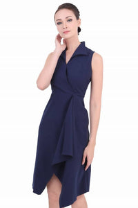 DREAMTALES WARDROBE - Collared Wrap Drape Sleeveless Dress – Blue
