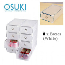 Load image into Gallery viewer, OSUKI - Transparent Storage Box Drawer Type Shoe Rack (8 BOX-WHITE)