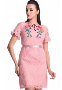 DREAMTALES WARDROBE - Floral Embroidered Ruffles Sleeves Dress – Pink