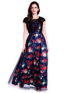 DREAMTALES WARDROBE - Mesh Lace Layering Floral Evening Dress – Blue