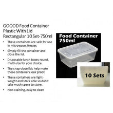 Load image into Gallery viewer, OSUKI - Goood Food Container Plastic With Lid Rectangular 10 Set-750ML