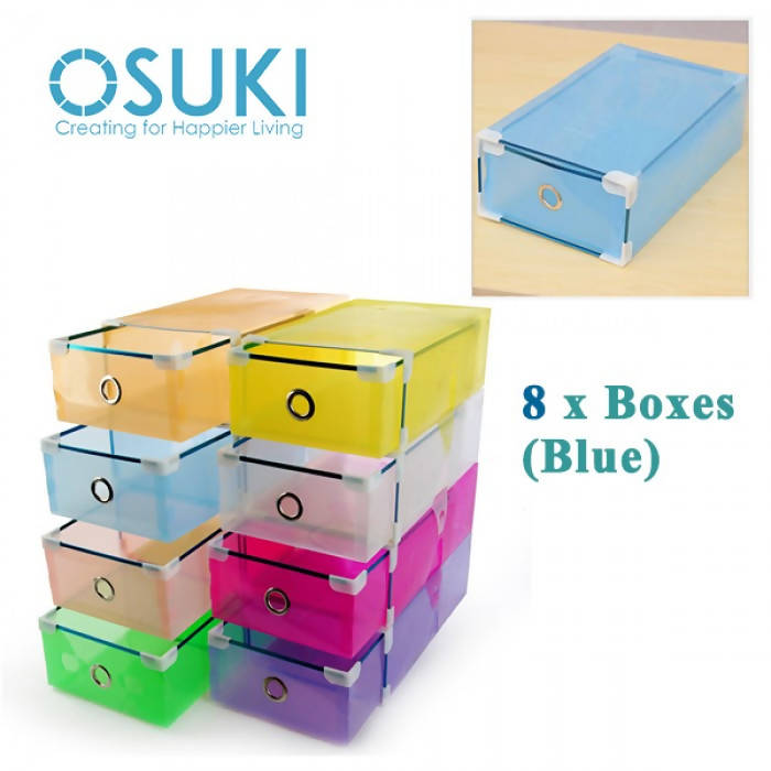 OSUKI - Transparent Storage Box Drawer Type Shoe Rack (8 BOX-BLUE)