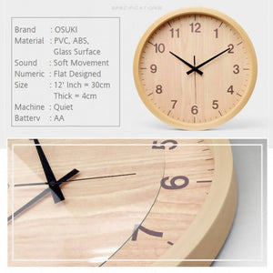 OSUKI - Wall Clock 30CM Analog Quartz AA17