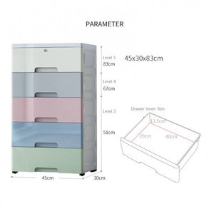 OSUKI - Drawer 5 Layer Storage Cabinet 45CM Wardrobe With Key Lock