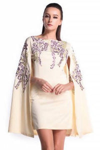 DREAMTALES WARDROBE - Floral Embroidered Details Cape Dress – Cream