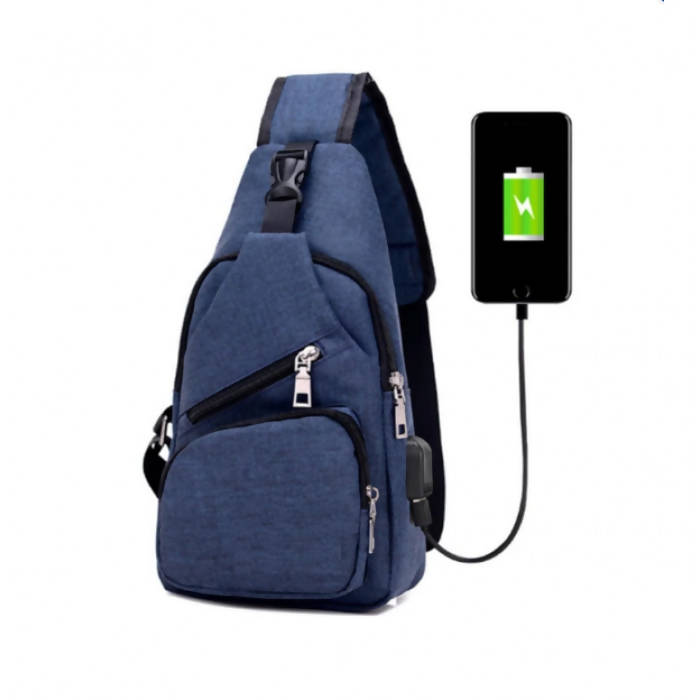 OSUKI - Japan Style Multi-Function Men Cross Body External USB Charging Port Travel Bag (DARK BLUE)