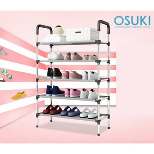 OSUKI - Solid Steel 5 Layer Shoe Rack (BLACK)