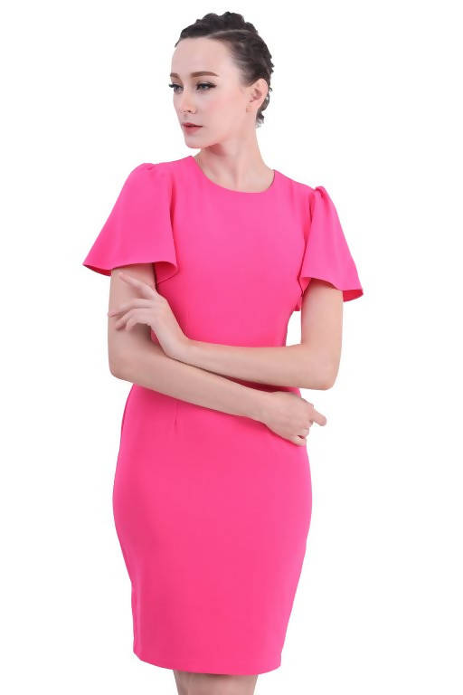 DREAMTALES WARDROBE - Flutter Sleeve Sheath Dress – Pink