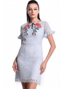 DREAMTALES WARDROBE - Floral Embroidered Ruffles Sleeves Dress – Blue