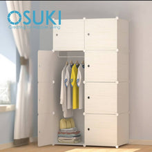 Load image into Gallery viewer, OSUKI - Living Cabinet Wardrobe 8 Cubes With 1 Hanger (WOOD WHITE)