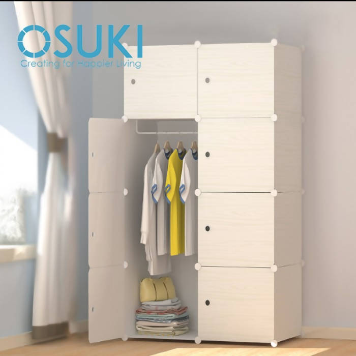 OSUKI - Living Cabinet Wardrobe 8 Cubes With 1 Hanger (WOOD WHITE)