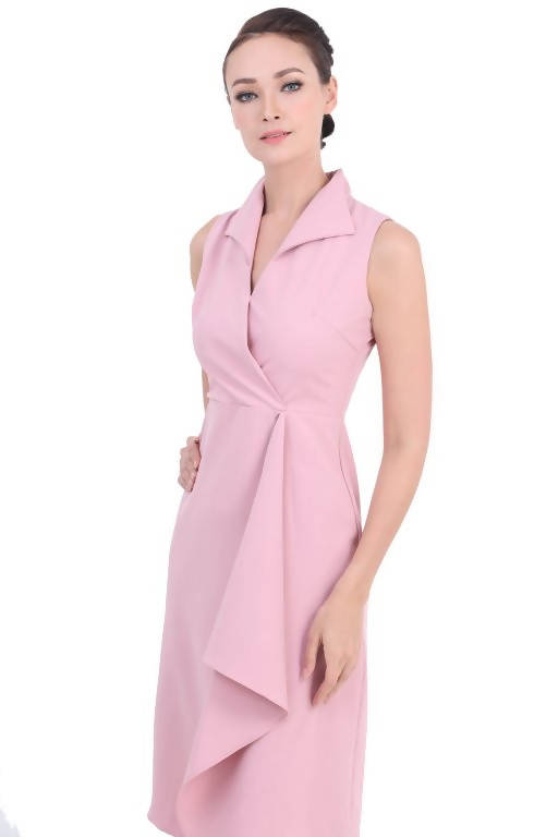 DREAMTALES WARDROBE - Collared Wrap Drape Sleeveless Dress – Pink