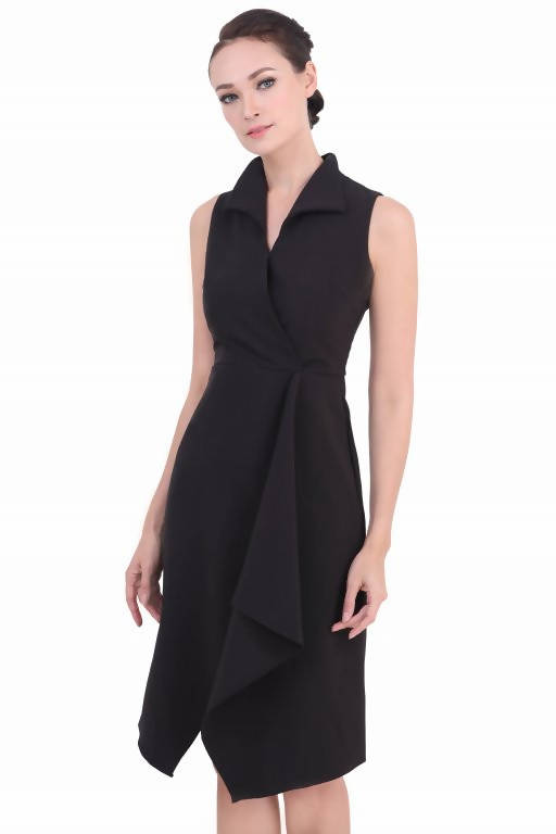 DREAMTALES WARDROBE - Collared Wrap Drape Sleeveless Dress – Black