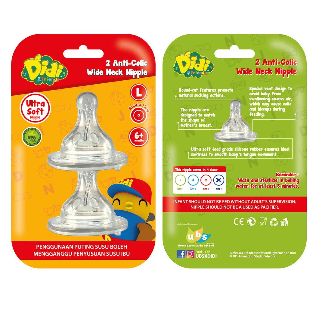 DIDI & FRIENDS - 2 Anti Colic W.Neck Nipple - L