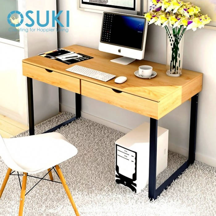OSUKI - Home Office Table 120 X 52CM Double Drawer S858 (BROWN)