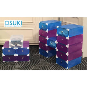 OSUKI - Transparent Storage 16 Box Drawer Type Shoe Rack (8-BLUE & 8-PURPLE)-Free Hanger Storage