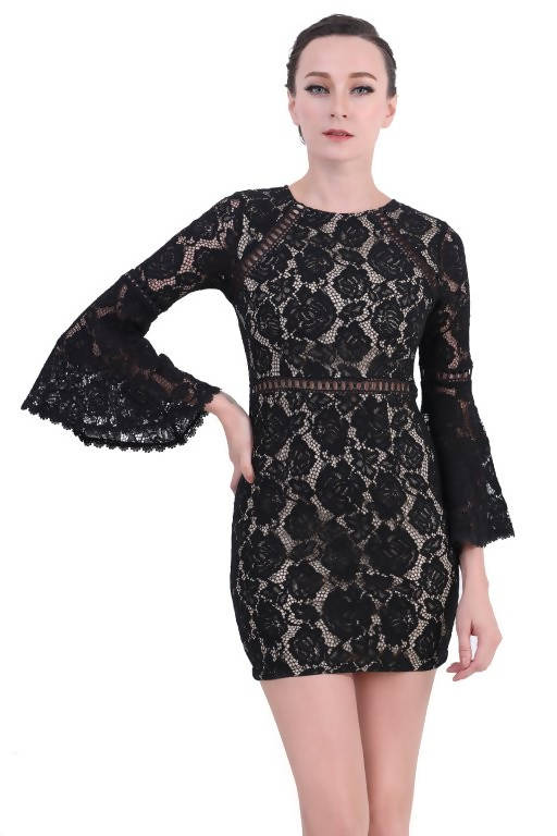 DreamTales - Bell Sleeve Lace Mini Dress - Black